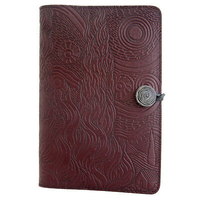 """Van Gogh Sky Starry Night 6""""x9"""" Large Wine Leather Journal by Oberon Design"""