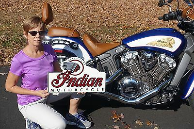 Old Style Indian Motorcycle Scout Chief Cheiftain Steel Bike Flg Sign Usa Made!