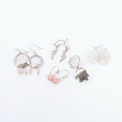 VTG Sterling Silver - Lot of 5 Assorted Earring Pairs NOT SCRAP - 12g