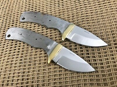 Lot of 2 Stainless Steel Drop Point Knife Making Supplies Blank With Brass Guard
