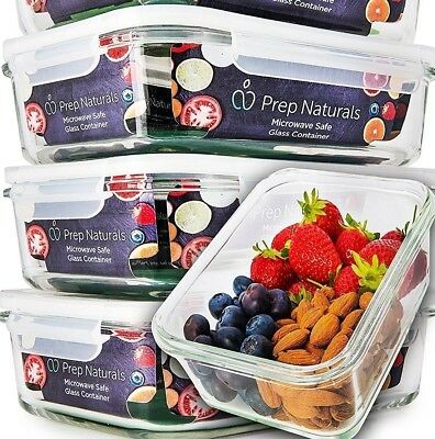 Roll over image to zoom inPrep Naturals [4-Pack] Glass Meal Prep Containers