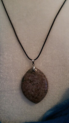 Natural Healing Jasper Necklace on 16-18 inch black cord for men or women