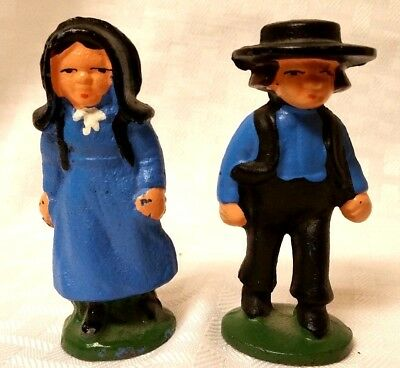 Vintage Solid Iron/cast Iron Amish Country Man And Woman Folk Art Decor