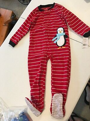 NEW Carter's Penguin Boys 4T Fleece Footed Pajamas Red Holiday Winter One-Piece