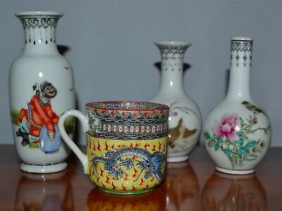 Group Lot 4 Pcs Old or Antique Chinese Polychrome Vases Cup Republic?