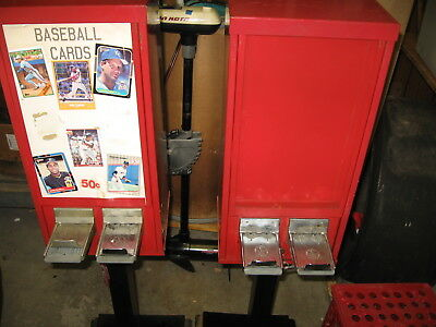 """"""" 2 """" VINTAGE BASEBALL CARD VENDING MACHINES by MONARCH - USA - WITH KEYS & MISC"""