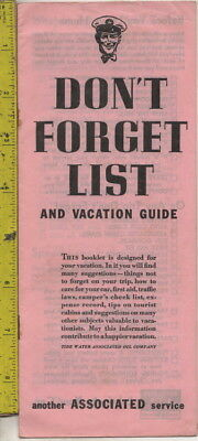 I have a c1950s Don't Forget List & Vacation Guide Associated Oil Company