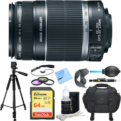 Canon EF-S 55-250mm f/4-5.6 IS II Telephoto Lens Deluxe Accessory Bundle