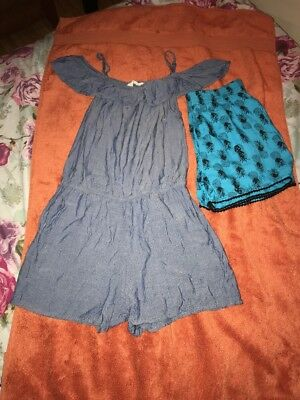Girls H&M Shiny Denim Playsuit With Bardot Shoulders & Shorts Age 10-11 Ex Con