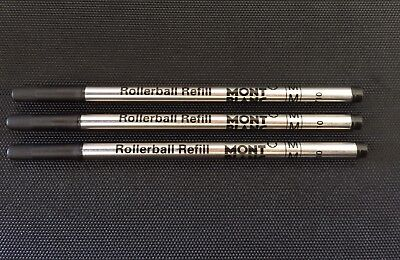3x Black Medium Point Roller Ball Rollerball - Pen Refills Mont Blanc Compatible