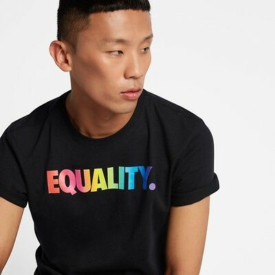 84d3542d BE TRUE. Nike Equality BeTrue T-Shirt sz L MEDIUM AO0798 010 Rainbow LGBTQ