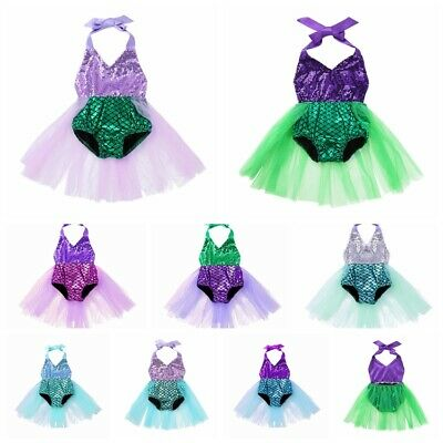 80af29ad14 Baby Mermaid Fish Scale Costume Toddler Girls Birthday Party Tutu Dress  Outfits
