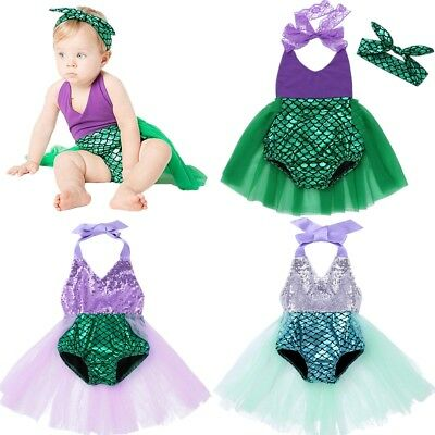 937c4fd2cf Baby Girls Cartoon Halter Sequins Outfits Mermaid Fish Scale Romper Tutu  Dress