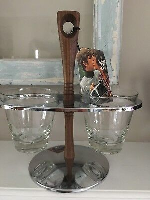 Vintage Mid Century Serving Condiment Bowl Server Chrome Caddy American Walnut