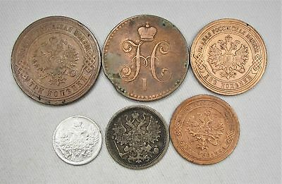 Lot of 6 Russian Foreign Coins 1834-1913 Silver Kopeks Circulated AG210