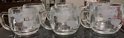 Vintage 6 NESTLE CO Etched Glass World Globe Coffee Cups Mugs