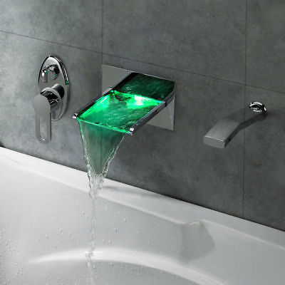 LED Lighted Color Changing Waterfall Roman Tub Filler Shower Widespread Faucet