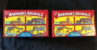2 NEW Nabisco Barnum's Animal Crackers Box es w/ DISCOUNTINUED Caged Animals Art