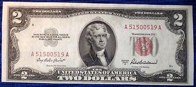 1953 A Two Dollar Bill Red Seal $2 United States Note ~ A51500519A ~ F-1510