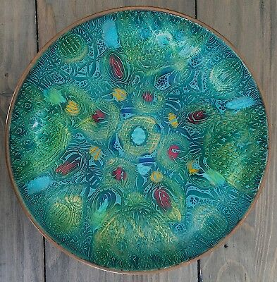 """Signed DORIS HALL Mid-Century Enamel / Copper Bowl ~ 7.25 by 2"""" ~ Peacock Colors"""