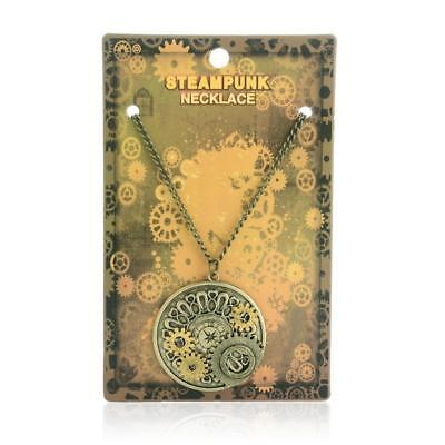 Watch Gears Necklace Steampunk Pendant Chain Gothic Vintage Antique Gold