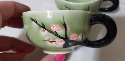 2 Green-Colored Branch-Shaped Handled Cups from Chinese Tea Set