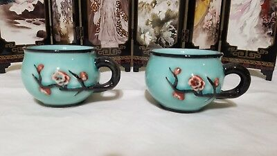 2 Teal-Colored Branch-Shaped Handled Cups from Chinese Tea Set