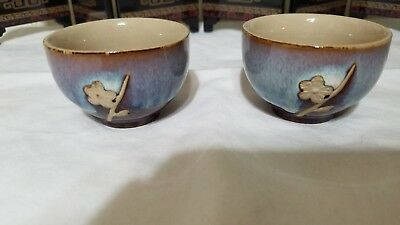 2 Tri-Colored Clay-Glazed Design w/Flower Cups from Chinese Tea Set