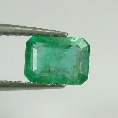 0.88 Ct  Natural Zambian Emerald 6.6X4.8 mm Octagon Cut Very Good Green Luster