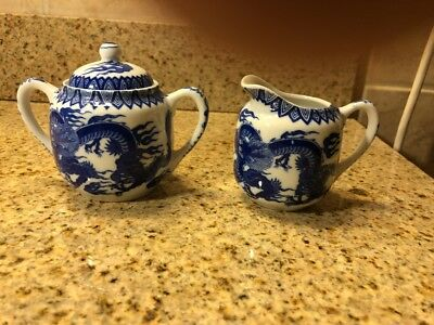 Vintage Sugar & Creamer Blue and White Porcelain DRAGON Ware Japan Sticker