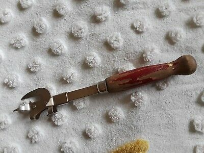 "Vintage Red Wood Handle Can Pop Cap Opener ""A & J"" USA"