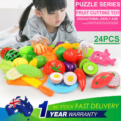 24pcs Plastic Cutting Toy Fruit Vegetable Simulation Food Kitchen Pretend Play ❤