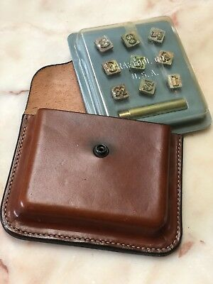 Set Of Vintage Craftool Co  Usa Leather Tool Numerical  Stamps In Leather Pouch
