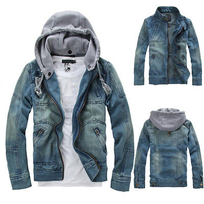 Men's Denim Coats Casual Classic Jean Jacket Removable Hoodie Loose Outwear