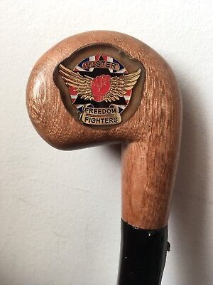 Uff Wooden Blackthorn Walking Stick with Crest Farthing Rare