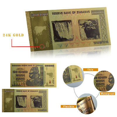 Zimbabwe One Hundred Trillion Dollar Colored Gold Banknote Collectible Souvenir