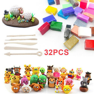 32 Mixed Color Oven Bake Fimo Polymer Soft Clay Set Modelling Moulding +DIY Tool