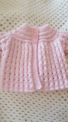 Hand Knitted Baby Matinee /cardigan 0-3Mths