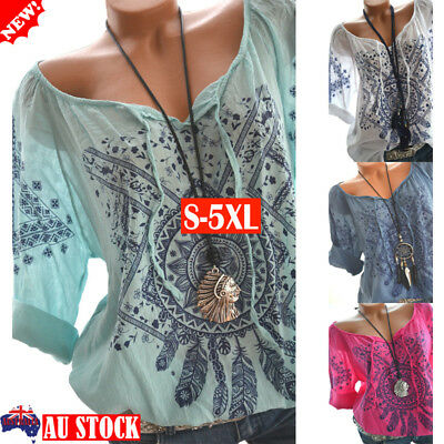 Plus Size Women's Casual Boho Floral Tops 3/4 Sleeve Summer Loose Shirt Blouse