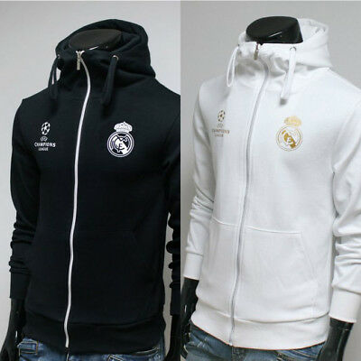Free Gift + Real Madrid Full Zip Hoodie Jacket Turtleneck Hooded Sweatshirts