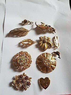Vintage Art Deco Antique Joblot Of Brooches Pins Gold plated Signed