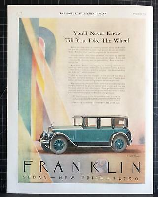 1926 FRANKLIN Motor Car 4-Door Sedan Everett Henry Art Deco Print Ad