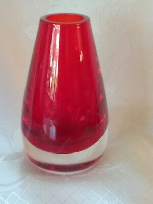 vintage 1960's Whitefriars ruby red cased glass vase