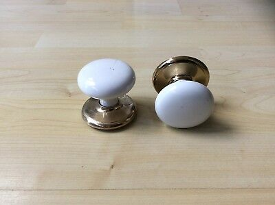Attractive Pair of White Porcelain Door Knobs with Brass Backplates