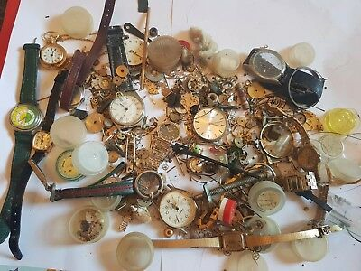 Vintage Antique Watch Joblot Of Spares Repairs Parts Mechanical