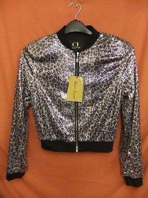 7) BNWT Womens or girls jacket Size S Purple Silver sequins