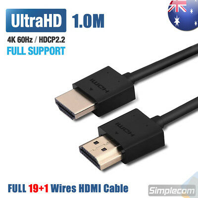 1M Slim High Speed HDMI Cable 2.0 Lead 18Gbps 4K@60Hz UHD For XBOX One S PS4 Pro