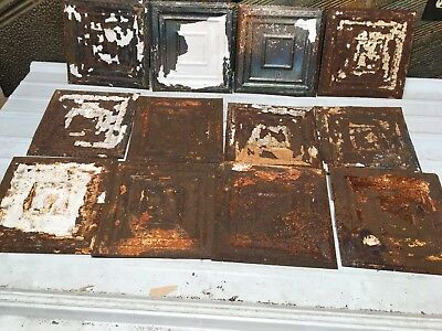 "12pc Lot of 9"" x 9""  Antique Ceiling Tin Vintage Reclaimed Salvage Art Craft"