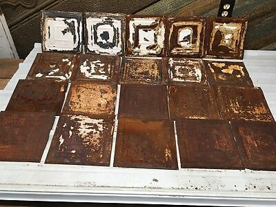 "20pc Lot of 9"" x 9""  Antique Ceiling Tin Vintage Reclaimed Salvage Art Craft"
