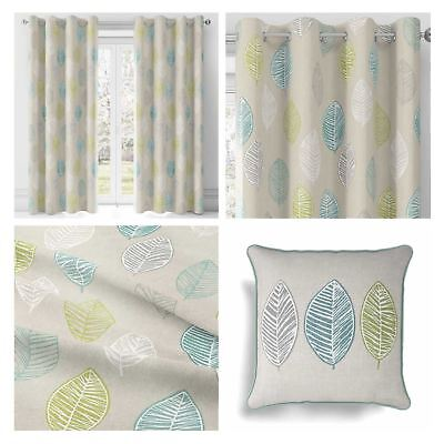Blue Teal Skandi Leaf Lined Eyelet Curtains Ready Made Curtain Ring Top Pairs